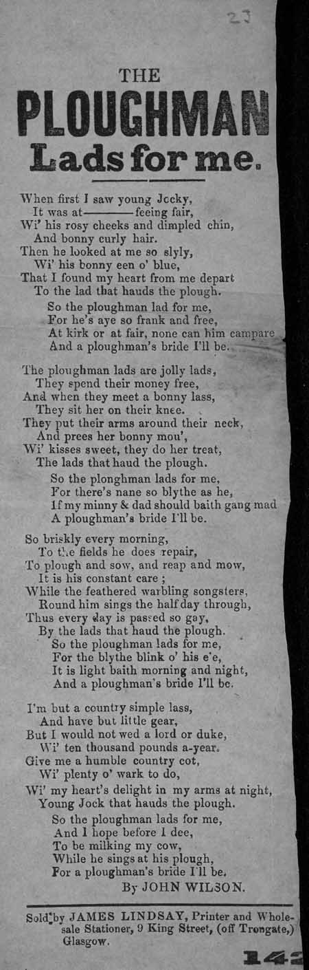 Broadside ballad entitled 'A Ploughman Lad's For Me'