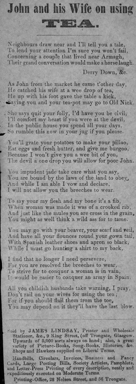 Broadside ballad entitled 'John and his Wife on Using Tea'