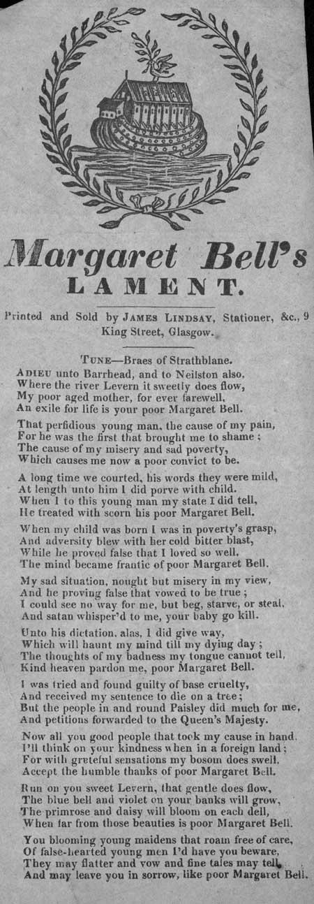Broadside ballad entitled 'Margaret Bell's Lament'