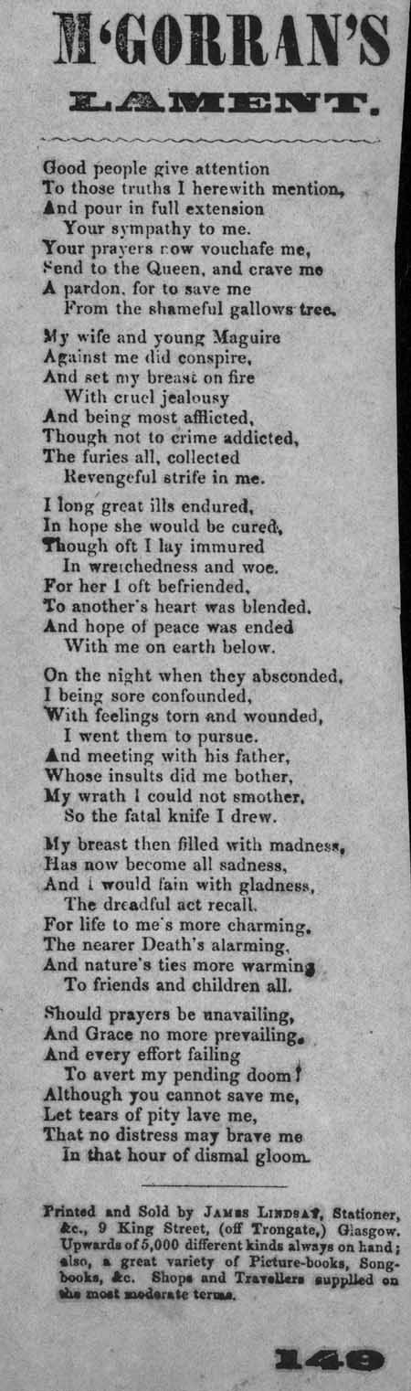 Broadside ballad entitled 'McGorran's Lament'