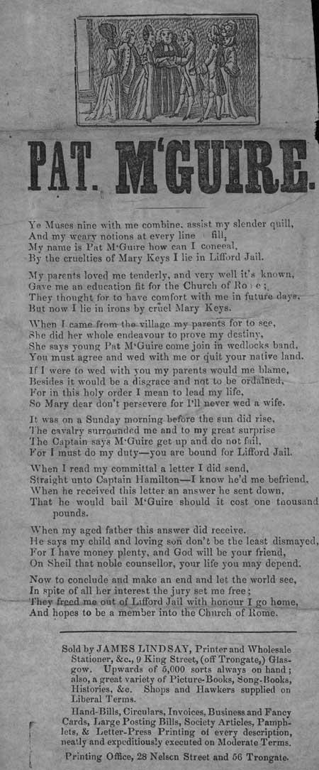 Broadside ballad entitled 'Pat McGuire'