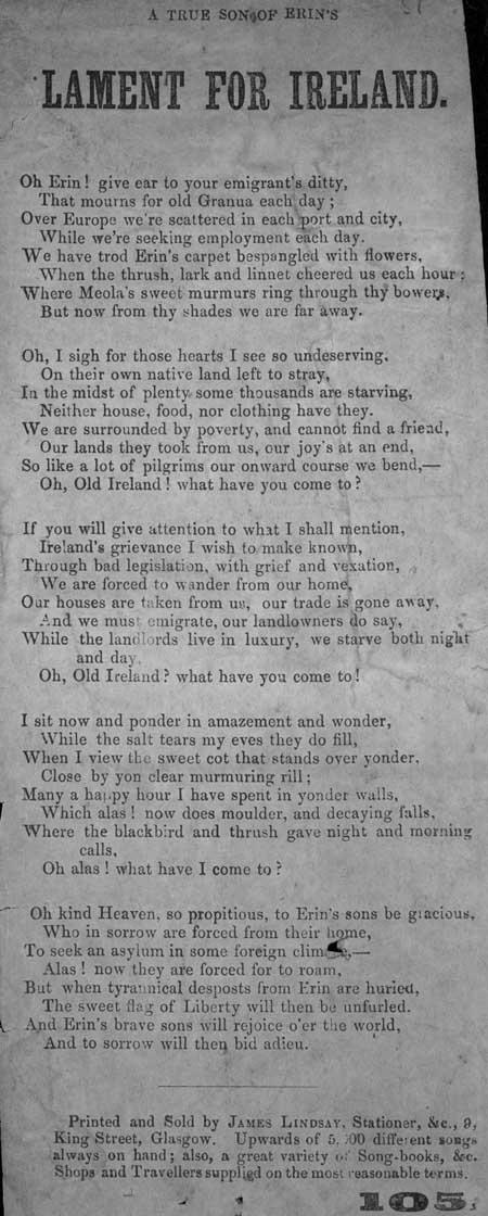 Broadside ballad entitled 'A True Son of Erin's Lament for Ireland'