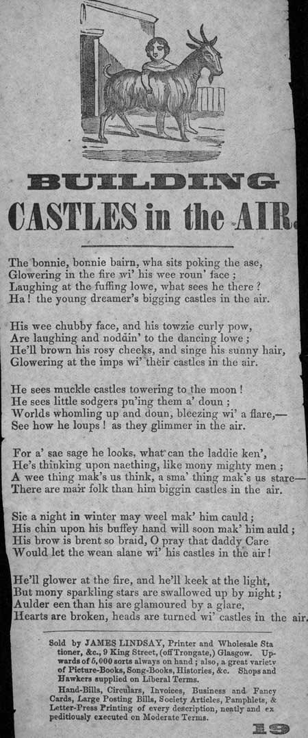 Broadside ballad entitled 'Building Castles in the Air'