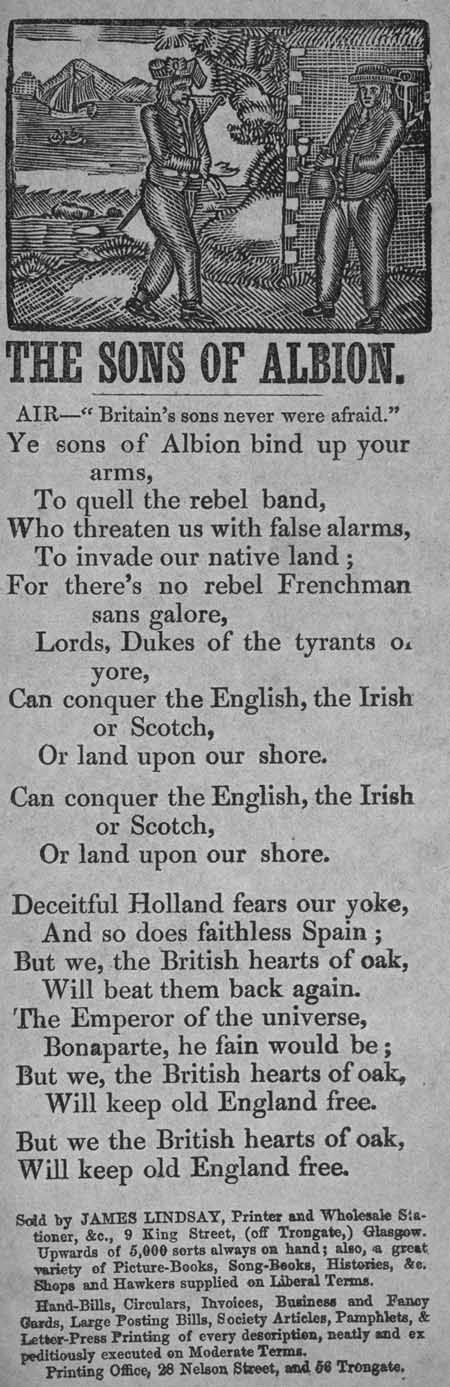 Broadside ballad entitled 'The Sons of Albion'