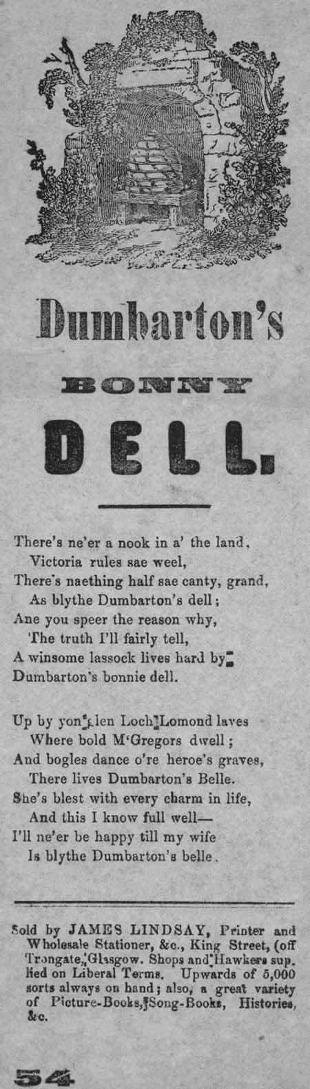 Broadside ballad entitled 'Dumbarton's Bonny Dell'