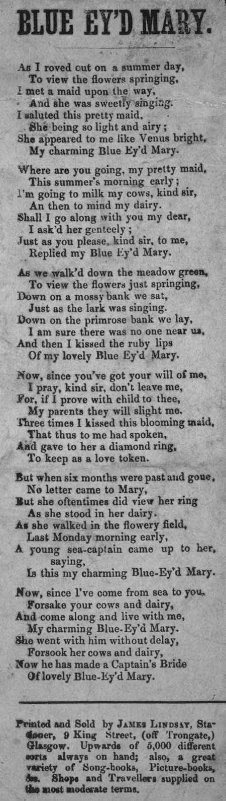 Broadside ballad entitled 'Blue Ey'd Mary'
