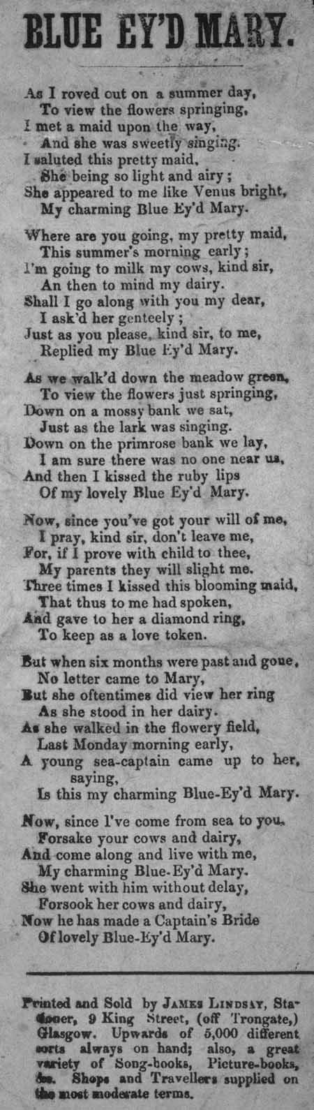 Broadside ballad entitled 'Blue Ey'd Mary'