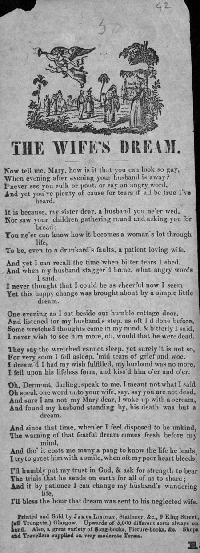 Broadside ballad entitled 'The Wife's Dream'