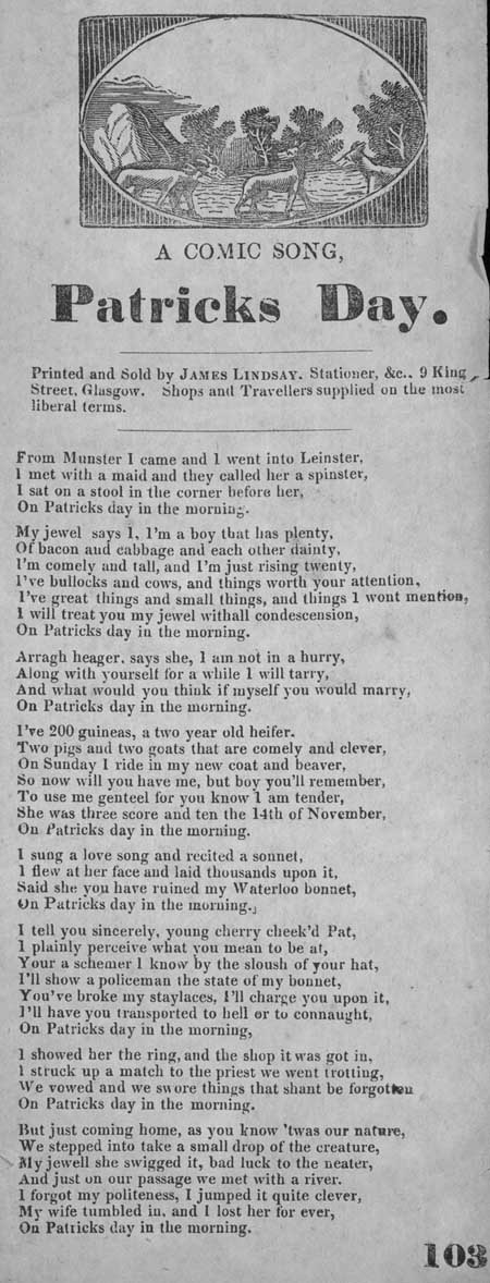 Broadside ballad entitled 'A Comic Song, Patricks Day'