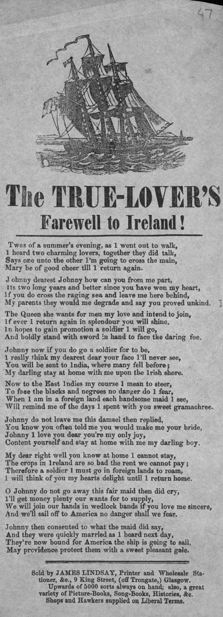 Broadside ballad entitled 'The True-Lover's Farewell to Ireland!'