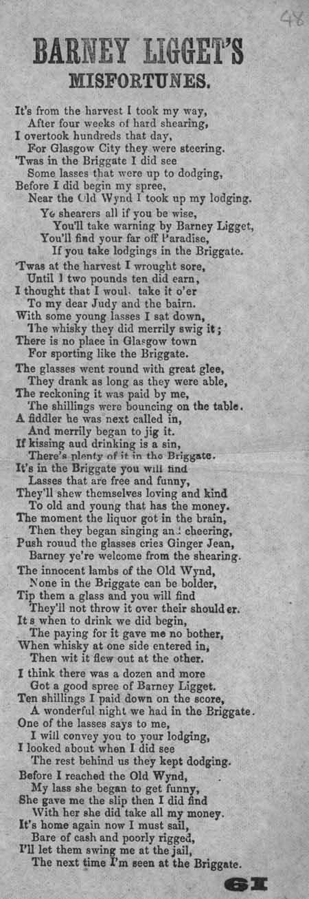 Broadside ballad entitled 'Barney Ligget's Misfortunes'