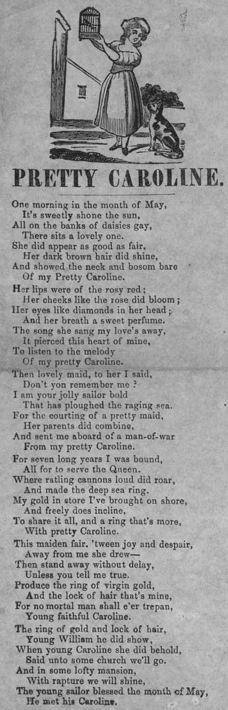 Broadside ballad entitled 'Pretty Caroline'