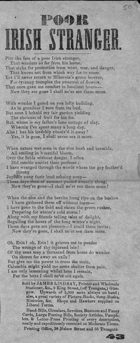 Broadside ballad entitled 'Poor Irish Stranger'