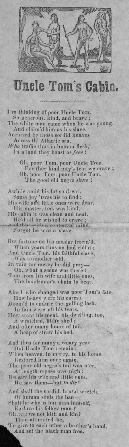 Broadside entitled 'Uncle Tom's Cabin'
