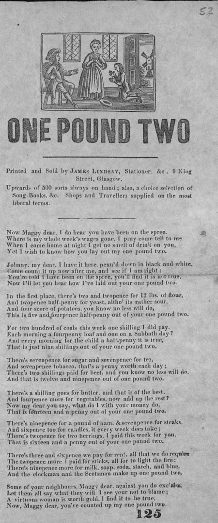 Broadside ballad entitled 'One Pound Two'