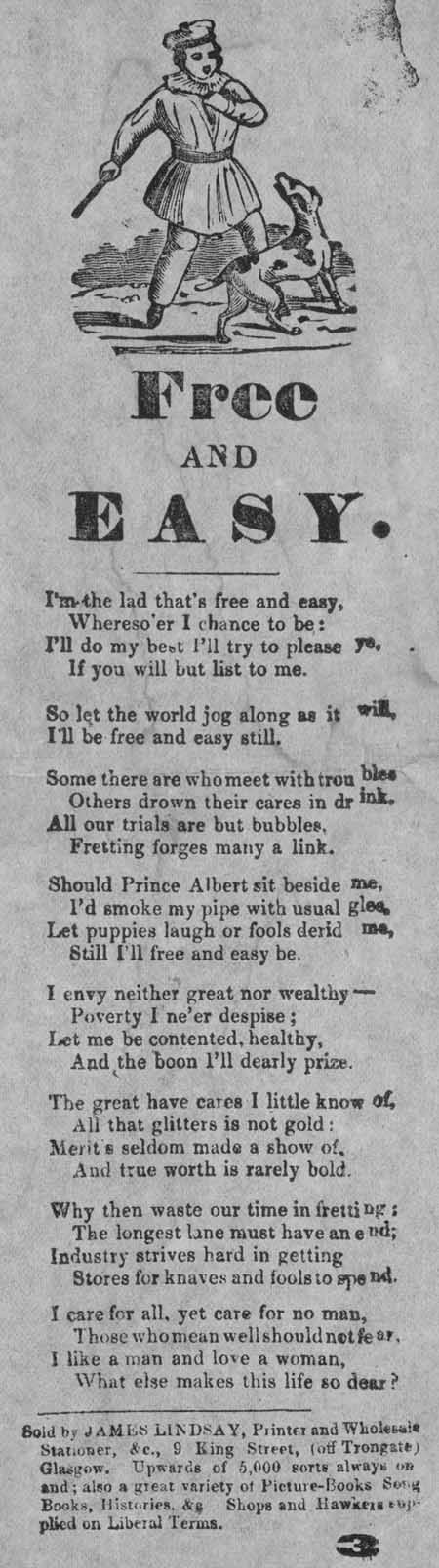 Broadside ballad entitled 'Free and Easy'