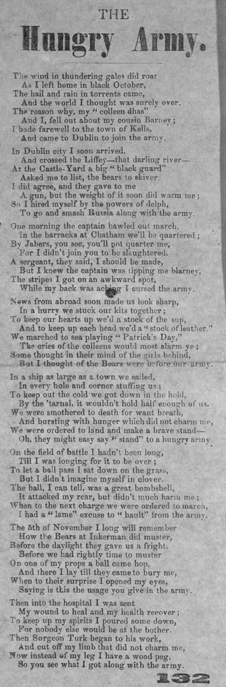 Broadside ballad entitled 'The Hungry Army'