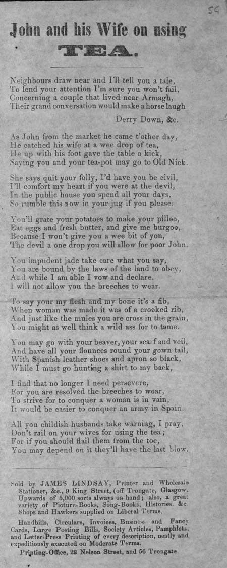 Broadside ballad entitled 'John and his Wife on Using Tea'.