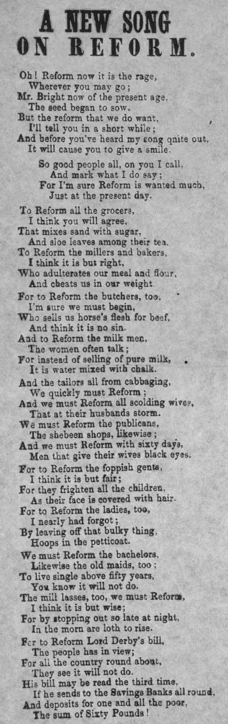 Broadside entitled 'A New Song on Reform'