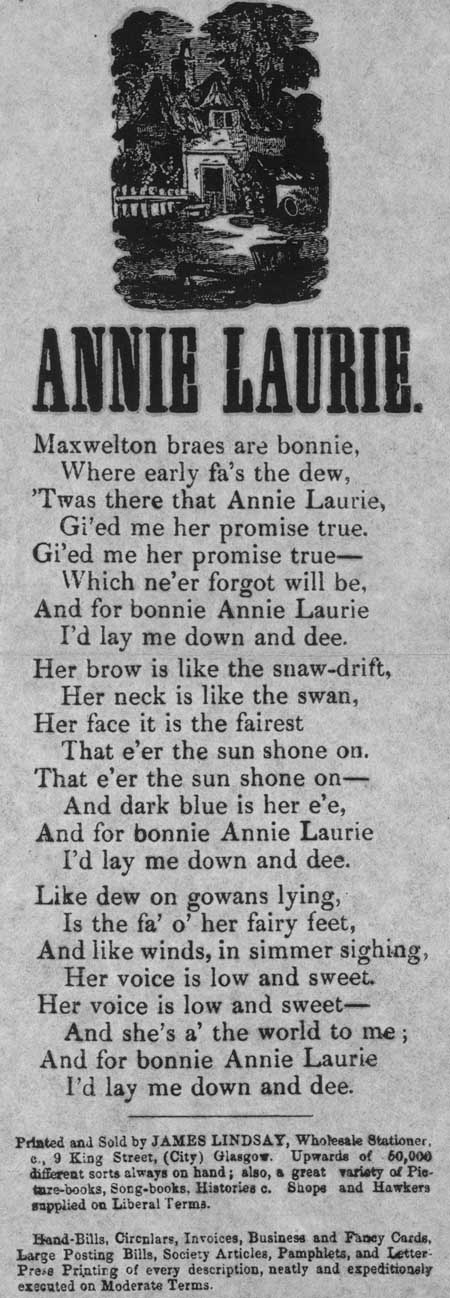 Broadside ballad entitled 'Annie Laurie'