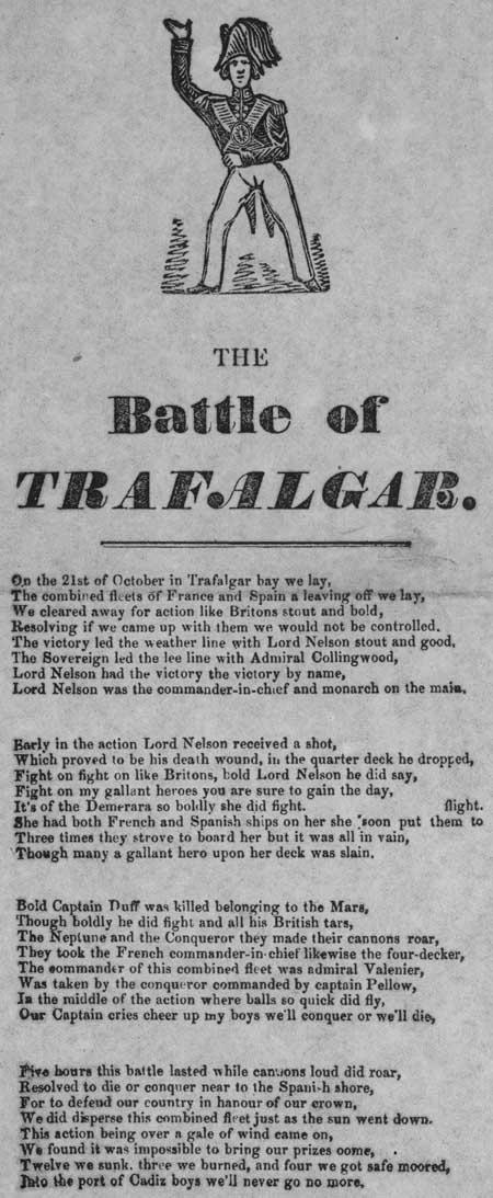 Broadside entitled 'The Battle of Trafalgar'