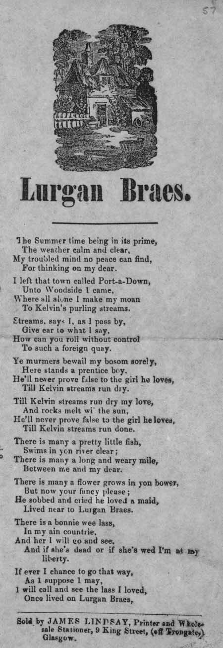 Broadside ballad entitled 'Lurgan Braes'