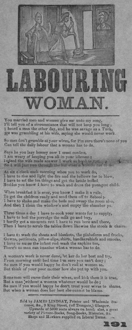 Broadside ballad entitled 'Labouring Woman'