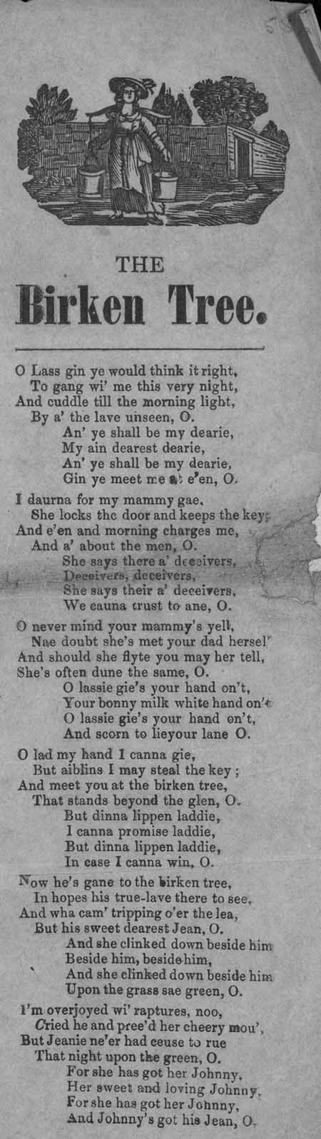 Broadside ballad entitled 'The Birken Tree'