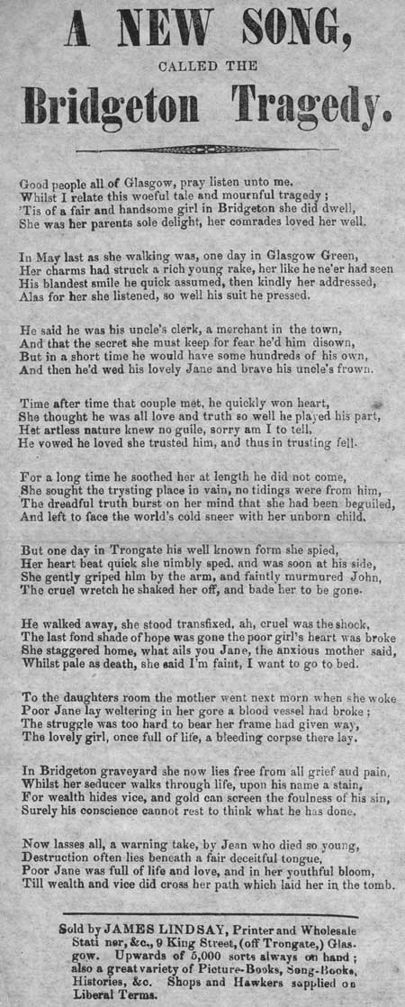 Broadside ballad entitled 'A New Song, Called the Bridgeton Tragedy'