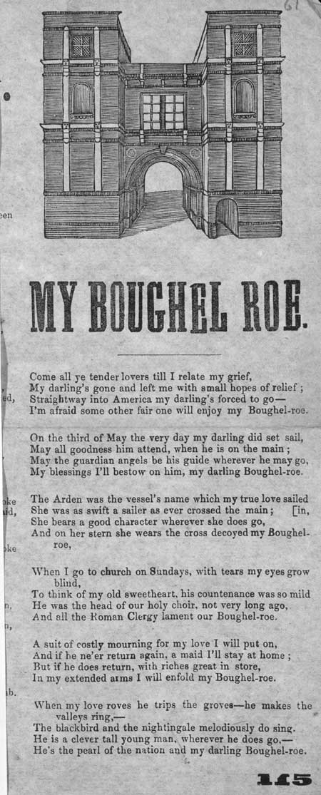 Broadside ballad entitled 'My Boughel Roe'
