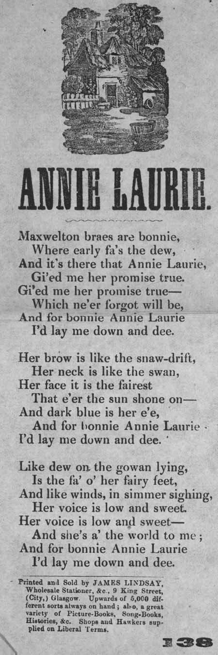 Broadside ballad entitled 'Annie Laurie'.