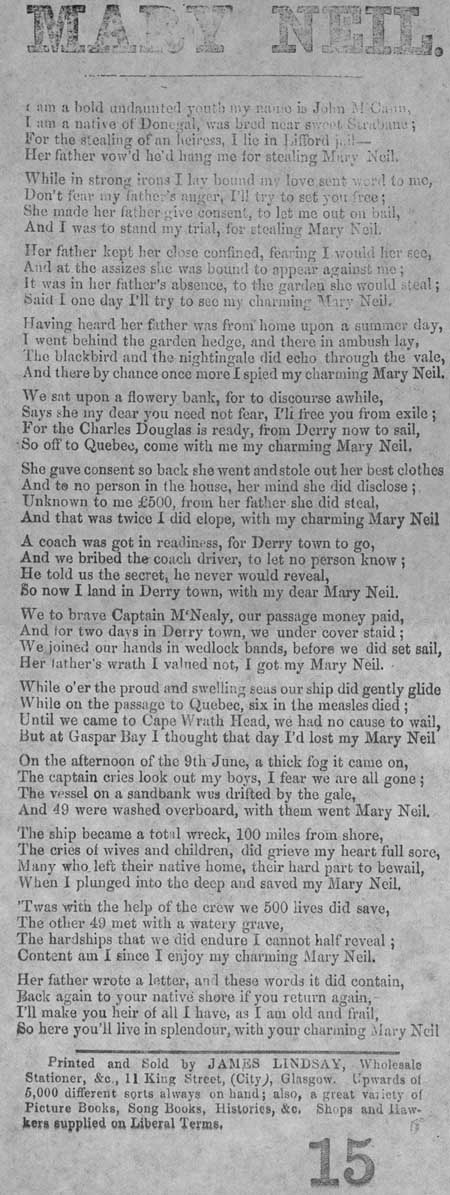 Broadside ballad entitled 'Mary Neil'