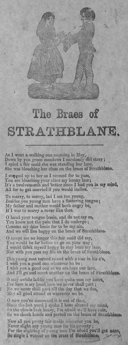 Broadside ballad entitled 'The Braes of Strathblane'