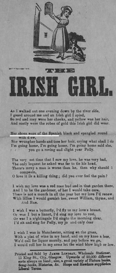 Broadside ballad entitled 'The Irish Girl'