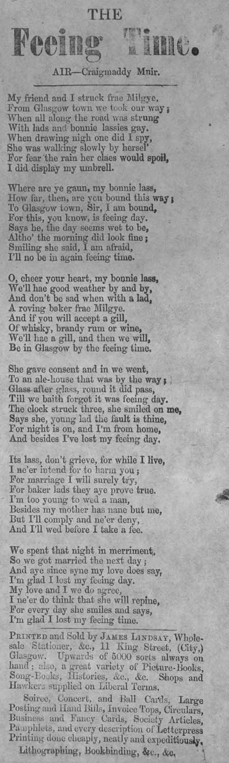 Broadside ballad entitled 'The Feeing Time'