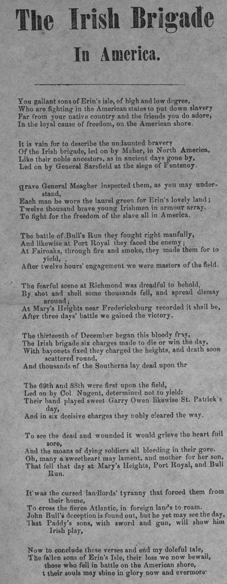 Broadside ballad entitled 'The Irish Brigade In America'