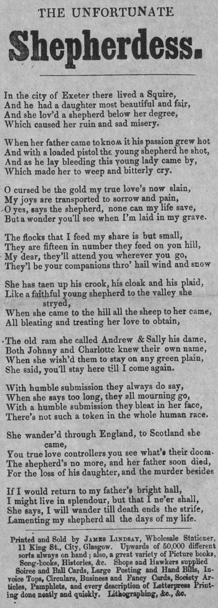 Broadside ballad entitled 'The Unfortunate Shepherdess'