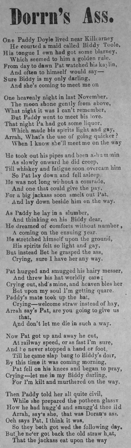 Broadside ballad entitled 'Dorrn's Ass'