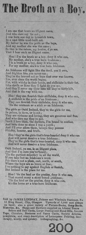 Broadside ballad entitled 'The Broth av a Boy'