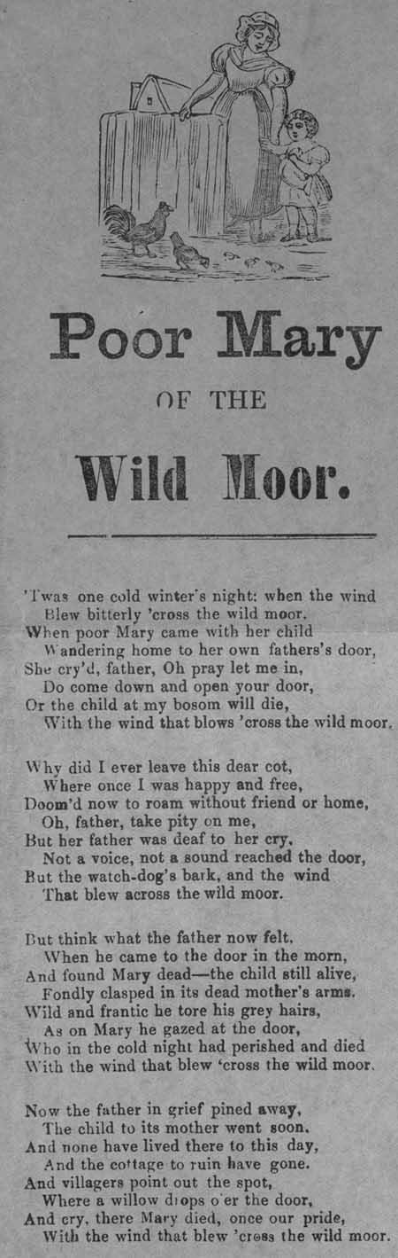 Broadside ballad entitled 'Poor Mary of the Wild Moor'
