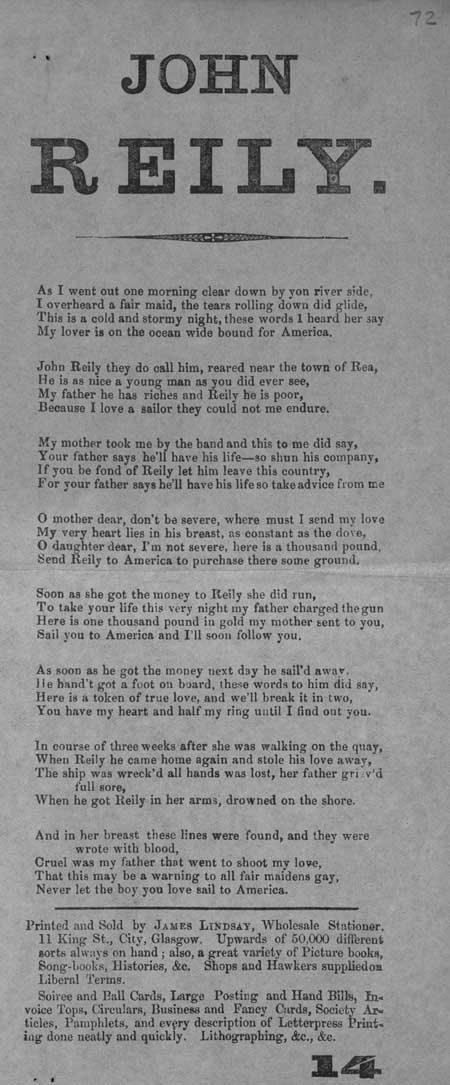 Broadside ballad entitled 'John Reilly'