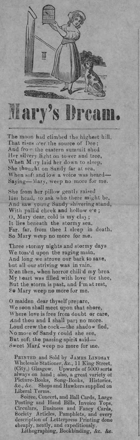 Broadside ballad entitled 'Mary's Dream'