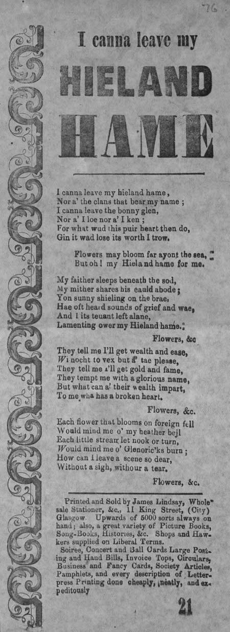 Broadside ballad entitled 'I canna leave my Hieland Hame'