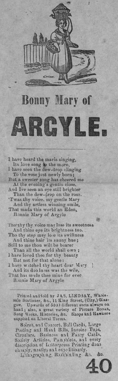 Broadside ballad entitled 'Bonny Mary of Argyle'