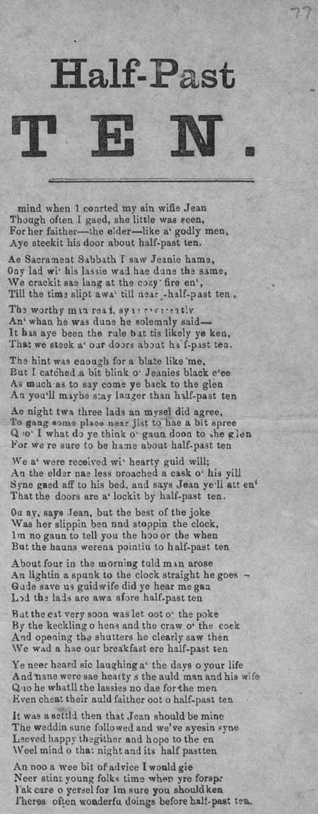 Broadside ballad entitled 'Half-Past Ten'
