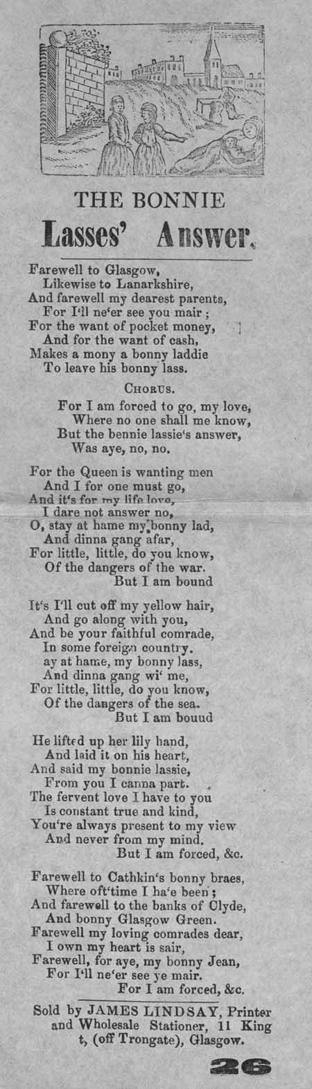 Broadside ballad entitled 'The Bonnie Lasses' Answer'