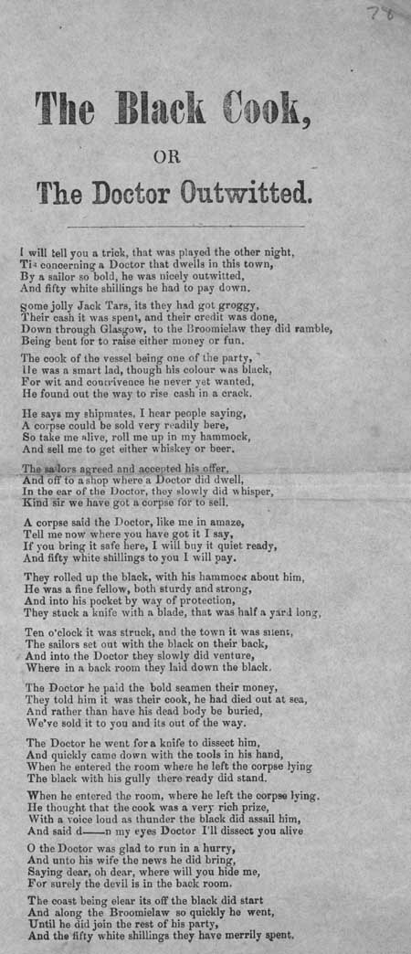 Broadside ballad entitled 'The Black Cook, or The Doctor Outwitted'
