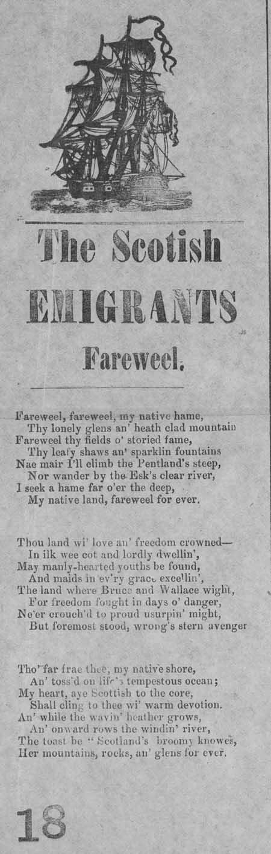 Broadside ballad entitled 'The Scottish Emigrant's Fareweel'