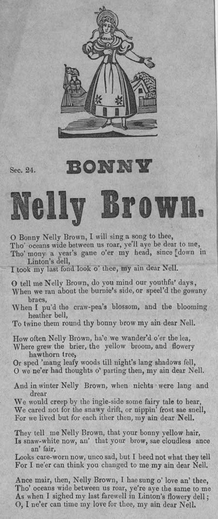 Broadside ballad entitled 'Bonny Nelly Brown'