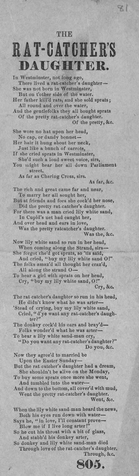 Broadside ballad entitled 'The Rat-Catcher's Daughter'